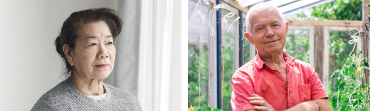 To images side by side. The first is a portrait of an older Asian woman looking away from the camera. The second is of a white-haired man standing in a greenhouse, looking directly at the camera with his arms crossed.